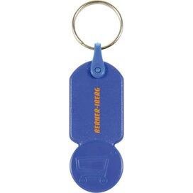 Sleutelhanger met  winkelwagenmuntje € 0,50 Aalst donkerblauw