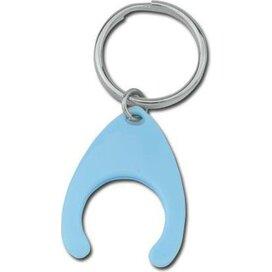Sleutelhanger met winkelwagenmuntje Porthos kobaltblauw
