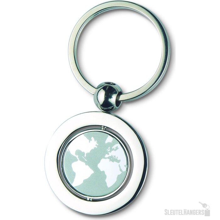 Metalen sleutelhanger Globy zilver