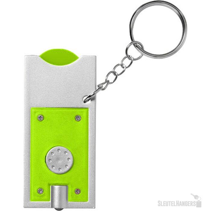Allegro sleutelhanger met munthouder en lampje Lime,Zilver