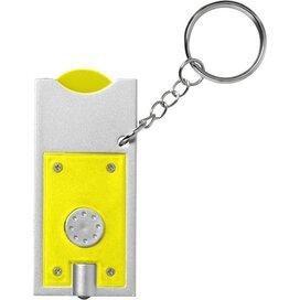 Allegro sleutelhanger met munthouder en lampje geel geel,Zilver