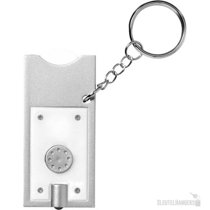 Allegro sleutelhanger met munthouder en lampje Wit,Zilver