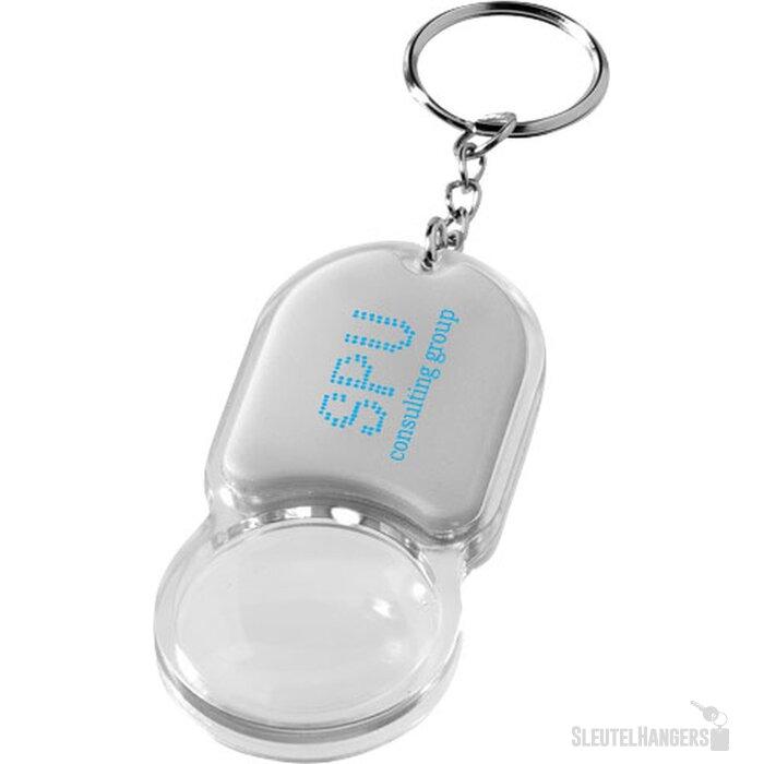 Zoomy sleutelhanger met vergrootglas en lampje Zilver