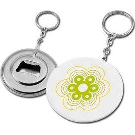 Button sleutelhanger met flessenopener wit