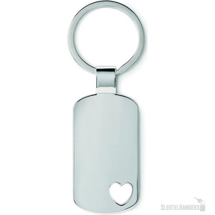 Metalen sleutelhanger, hartje Coraz#N zilver
