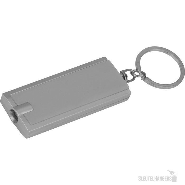 Sleutelhanger met wit LED lampje grijs