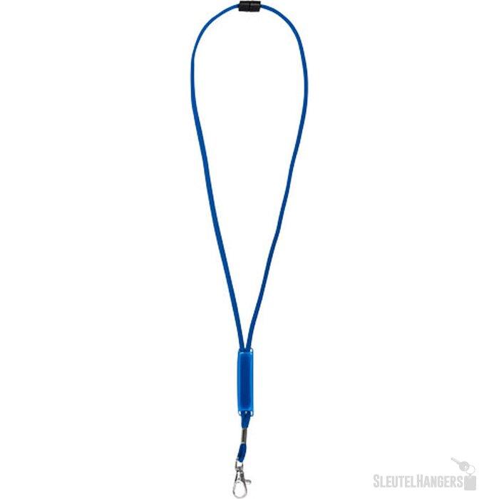 Landa lanyard met verschuifbare PVC strip koningsblauw