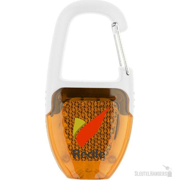Reflector sleutelhanger lampje met karabijnhaak Wit,Oranje