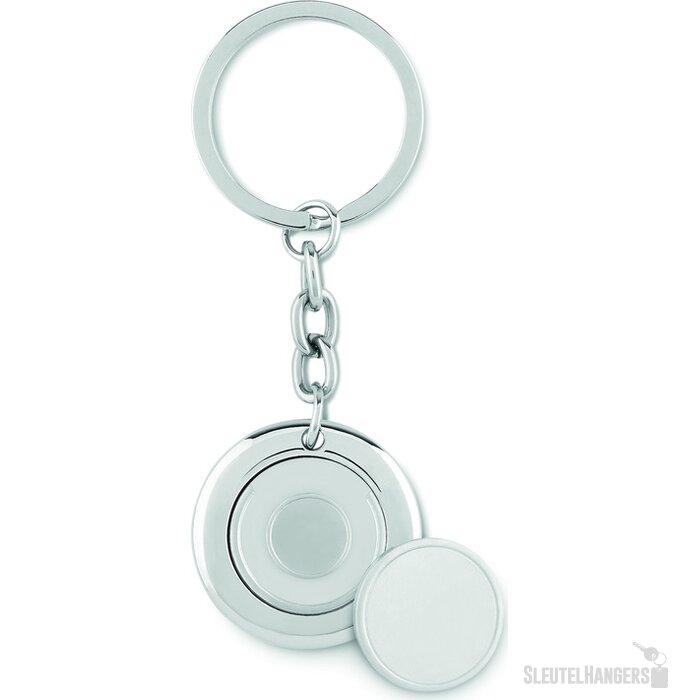 Sleutelhanger met munt Flat Ring zilver
