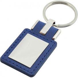 Sleutelhanger leder met metalen plaatje rechthoek blauw