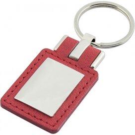 Sleutelhanger leder met metalen plaatje rechthoek rood