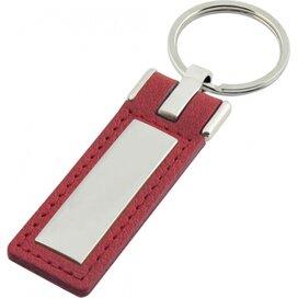 Sleutelhanger leder met metalen plaatje lang rood