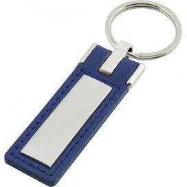 Sleutelhanger leder met metalen plaatje lang blauw
