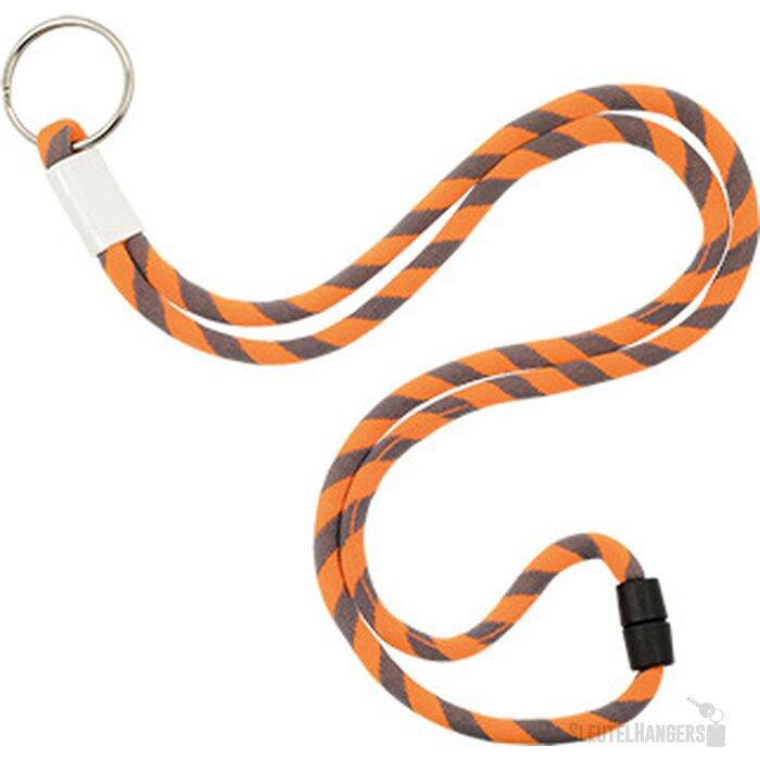 Polyester verstelbare koordlanyard met sleutelring oranje