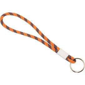 Polyester verstelbare pols-lanyard met sleutelring oranje