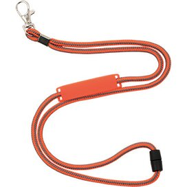 Polyester koordlanyard met veiligheidssluiting en naamlabel oranje