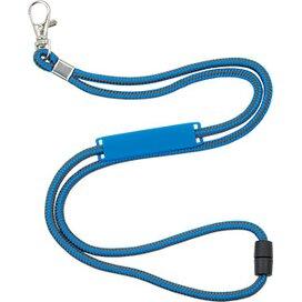Polyester koordlanyard met veiligheidssluiting en naamlabel donkerblauw