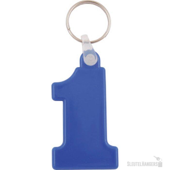 Kunststof sleutelhanger Nr. 1 donkerblauw