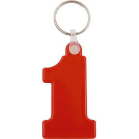 Kunststof sleutelhanger Nr. 1 rood