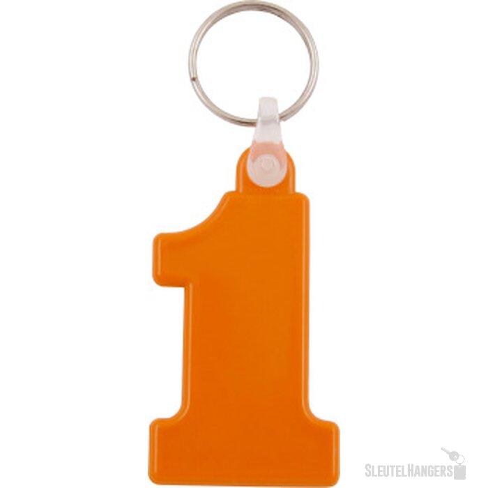 Kunststof sleutelhanger Nr. 1 oranje