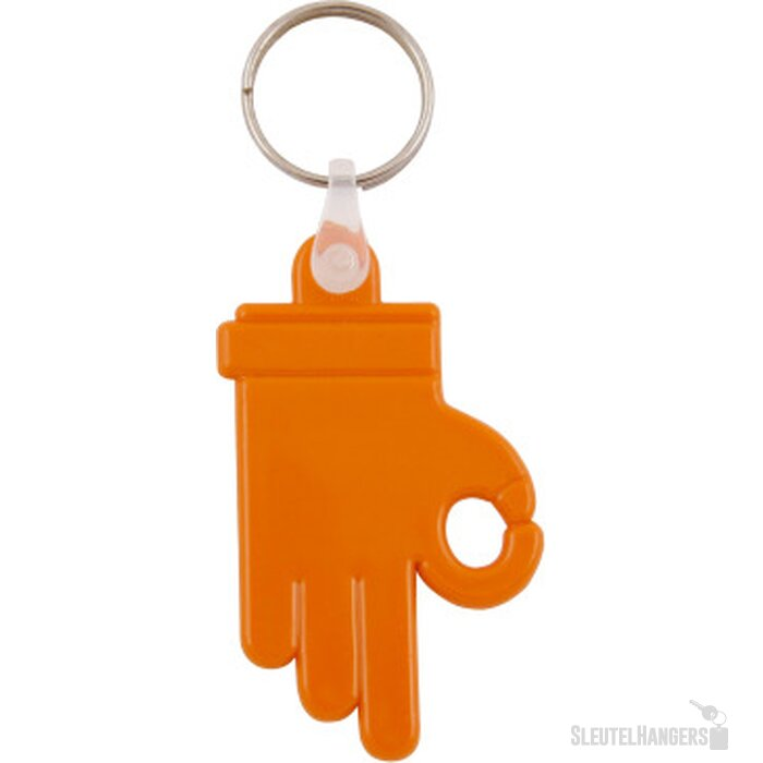 Kunststof sleutelhanger OK Hand oranje