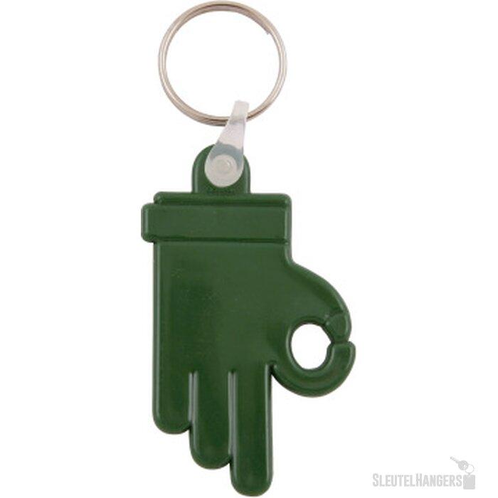 Kunststof sleutelhanger OK Hand donkergroen