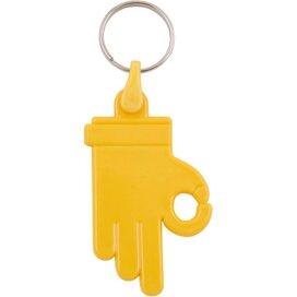 Kunststof sleutelhanger OK Hand geel