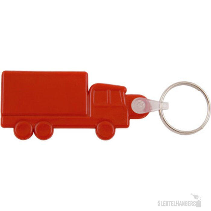 Kunststof sleutelhanger Truck rood