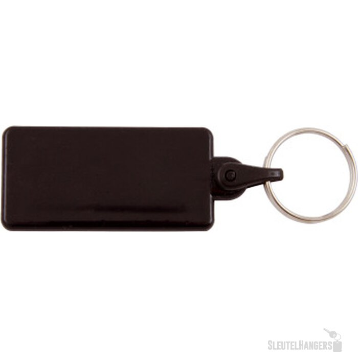 Kunststof sleutelhanger rechthoek zwart