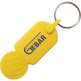 Sleutelhanger winkelwagenmuntje € 0,50 geel