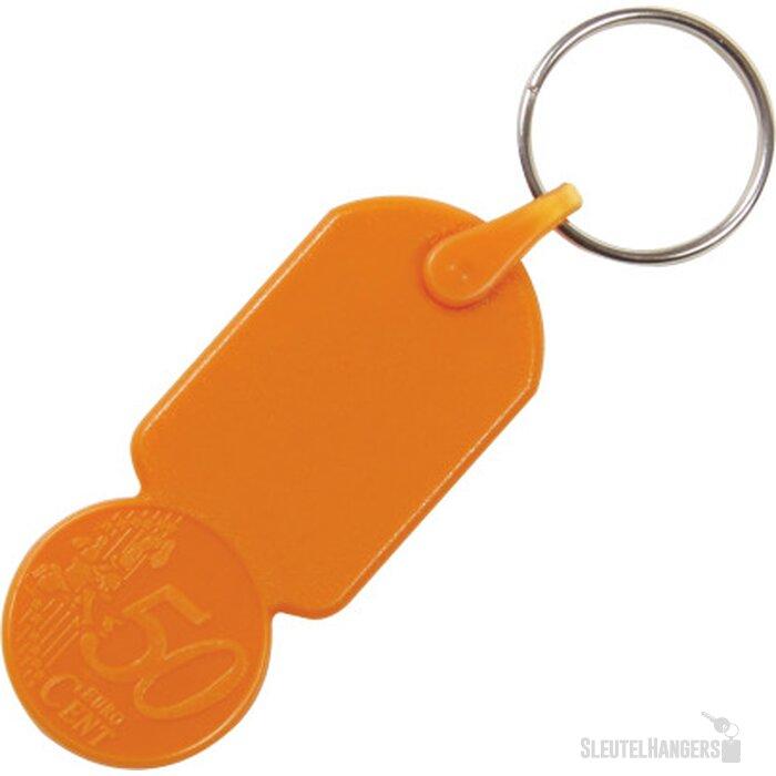 Sleutelhanger winkelwagenmuntje € 0,50 oranje