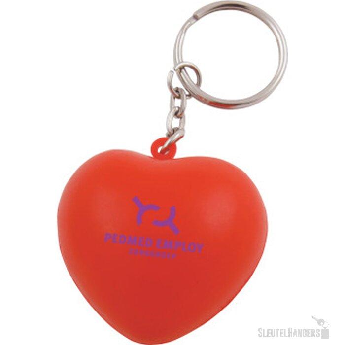 Anti-stress Hart met sleutelhanger rood