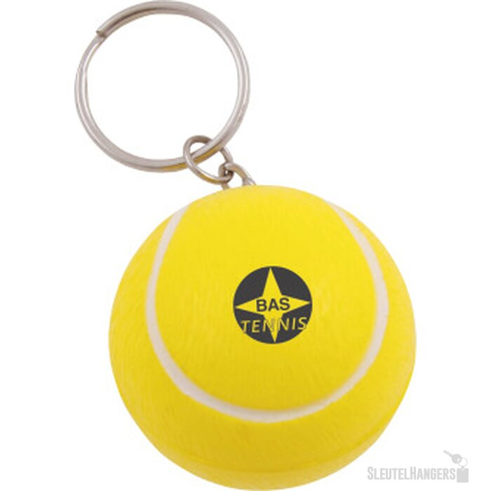 Anti-stress Tennisbal met sleutelhanger geel