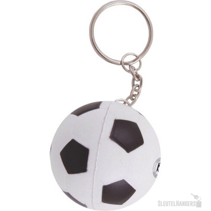 Anti-stress Voetbal met sleutelhanger wit/zwart