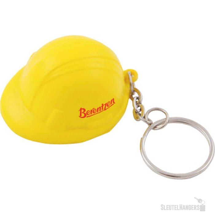 Anti-stress Bouwhelm met sleutelhanger geel