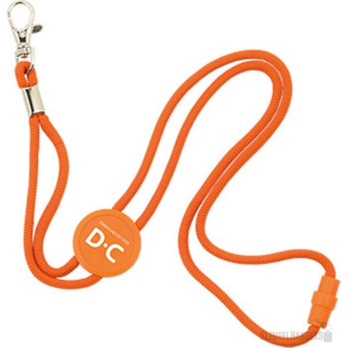 Polyester verstelbare koordlanyard met veiligheidssluiting en karabijnhaak oranje