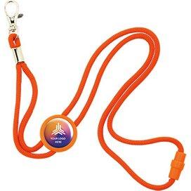 Polyester verstelbare koordlanyard met veiligheidssluiting en karabijnhaak, incl. doming oranje