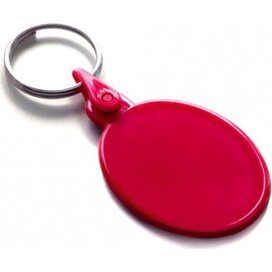 Kunststof sleutelhanger ovaal SALE rood