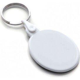 Kunststof sleutelhanger ovaal SALE wit