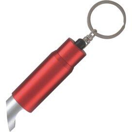 Zaklamp LED sleutelhanger met flesopener inclusief lasergravering rood