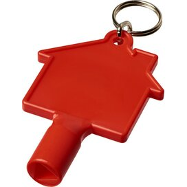 Maximilian huisvormige meterbox-sleutel met sleutelhanger Rood