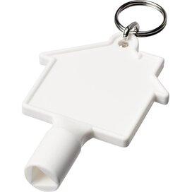 Maximilian huisvormige meterbox-sleutel met sleutelhanger Wit