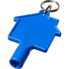 Maximilian huisvormige meterbox-sleutel met sleutelhanger blauw