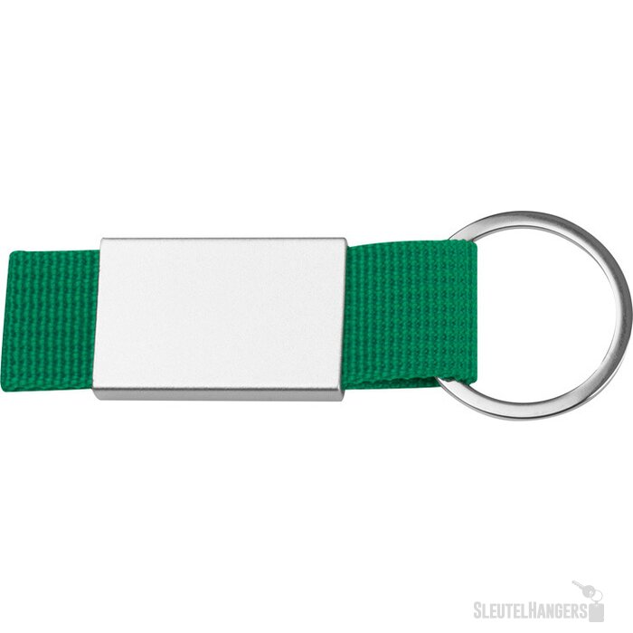 Sleutelhanger van stof en metaal groen