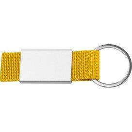 Sleutelhanger van stof en metaal geel