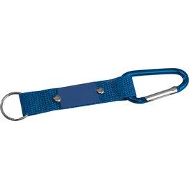 Sleutelhanger met karabijnhaak en metalen plaatje blauw