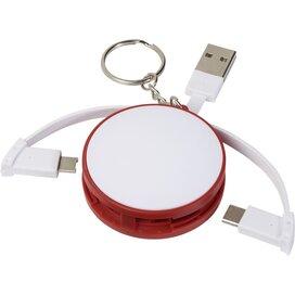 3 in 1 kabel met oplaadkabel en sleutelhanger Rood