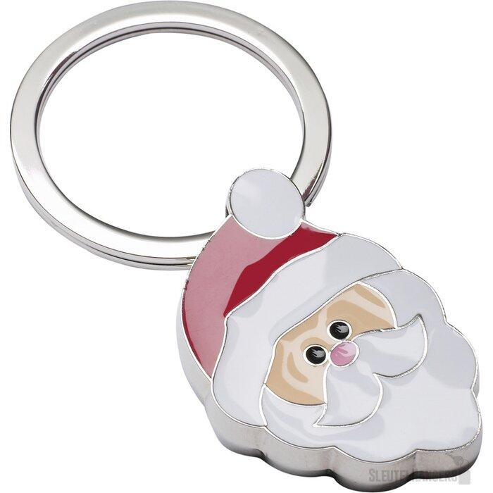 Sleutelhanger Santa Claus beige, rood, zilver, wit